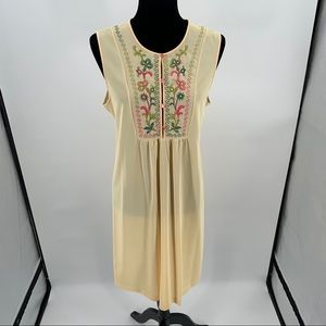 VTG Gossard Artemis Nightgown L Yellow Embroidery